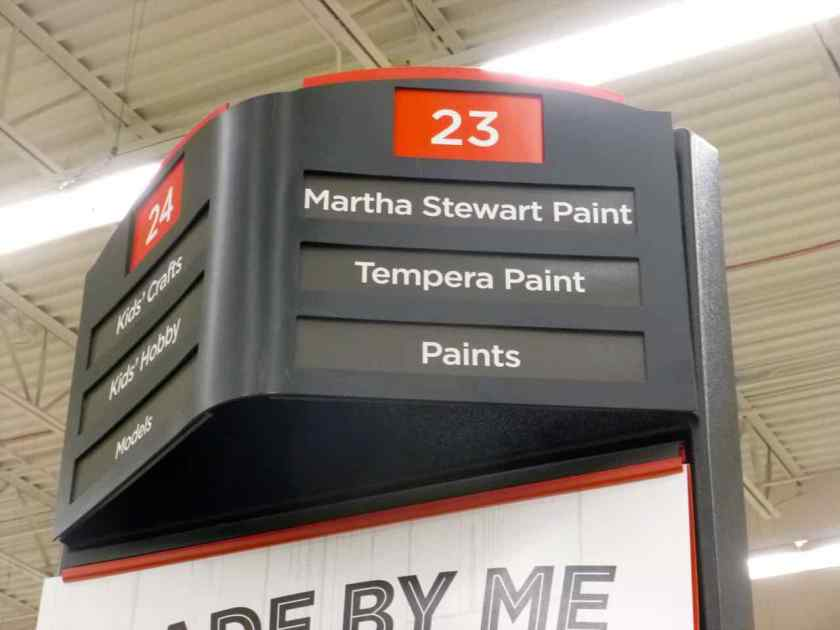 Aisle 23 label: 'Martha Stewart Paint; Tempera Paint; Paint'.