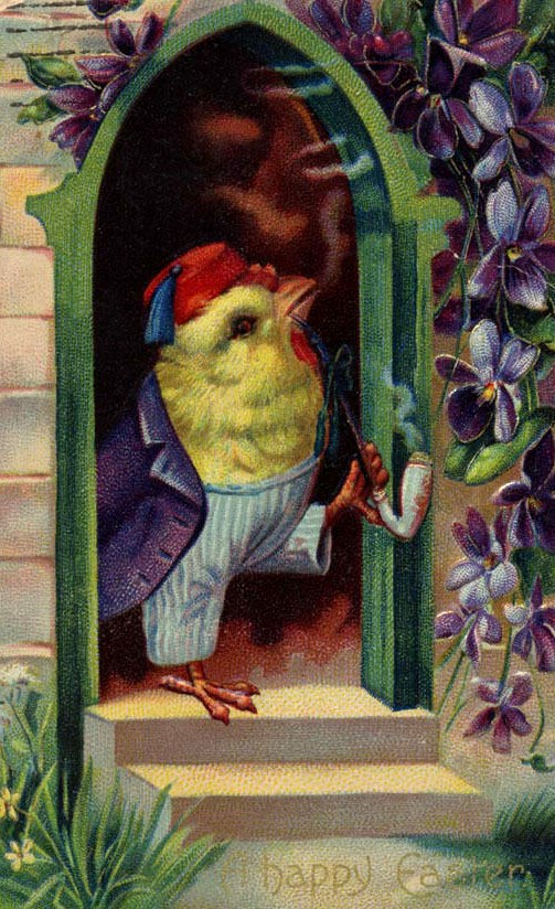 A chick, wearing striped pants and a purple jacket, and a fez, holding a long pipe in its feet, stepping outside.