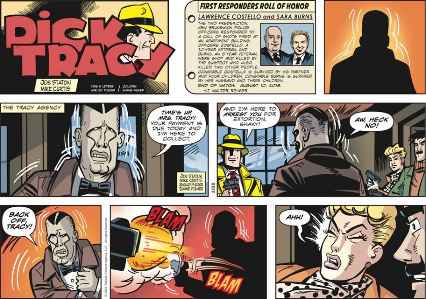 [ The Tracy Agency ] Shaky: 'Time's up, Mrs Tracy! Your payment is due today and I'm here to collect.' Dick Tracy: 'And I'm here to arrest you for extortion, Shaky!' Shaky: 'Aw, heck no! BACK OFF, TRACY!' He reaches for a gun; Tracy shoots him. Shaky shoots wildly(?), hitting Tess Tracy.